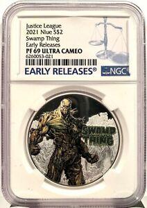 2021 Niue DC Justice League Swamp Thing 50th Ann. 1 oz Silver Coin - NGC PF 69