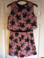 NEW Ladies MISS SELFRIDGE Pink Black Short Playsuit (Size 10) RRP £45.00