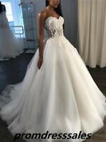 New Applique Lace Sweetheart A Line Wedding Dresses Tulle Bridal Gown Size 4 6++