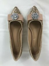 Ladies Crown & Ivy Size 7.5 M Addison Gold Sparkle Jeweled Flats Women's