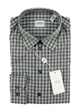 Men's ARMANI COLLEZIONI Gray Plaid Cotton Spread Collar Dress Shirt 16 M NWT