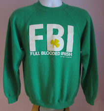 VTG Mens HANES FBI Green USA Crew Neck Sweatshirt Size Medium