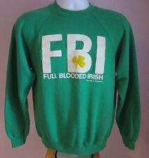 VTG Mens HANES FBI Green USA Crew Neck Sweatshirt Size Medium
