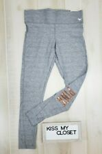 Victoria's Secret PINK Super Soft Leggings Large Gray Gold Bling Logo Pants