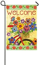 Welcome Be Joyful Bike Bicycle Flowers 60's Groovy Sm Summer Garden Flag 2 sided
