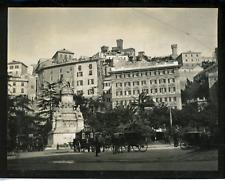 Italie, Gênes, grand hôtel et statue Christophe Colomb Vintage silver print,