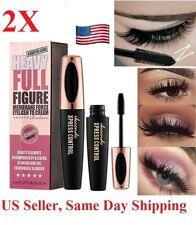 2pcs 4D Silk Fiber Eyelash Mascara Extension Makeup Black Waterproof Eye Lashes