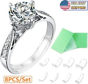 8PCS Ring Size Adjuster Invisible Clear Ring Sizer Jewelry Fit Reducer Guard US