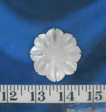 "~ Mother-of-Pearl Seashell ~ Carved Flower ~ 1.75"" ~ Polished ~ Natural White ~"