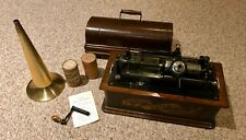 Edison Home Phonograph, Model A with brass horn, Long Box, works great!