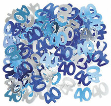 40th 40 Birthday Party Supplies Confetti Blue Silver Table Scatters Decorations