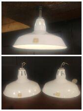 "Vintage White Benjamin Porcelain Enamel Light Fixture 16"" Barn Industrial Shade"