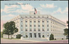 RALEIGH NC Education Building Edenton & Salisbury Street Vtg Town View Postcard