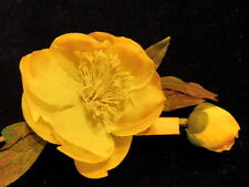 "Vintage Millinery Flower 2"" Yellow stamen Center for Hat Wedding or Hair Y146"