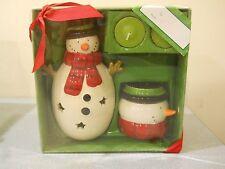 New Set of 2 Christmas Snowman Tealight Holder w/ tea lights 4 Pc Gift Holiday