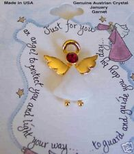 Angel Pin Austrian Crystal Birthstone January Garnet Howard's Mfg,