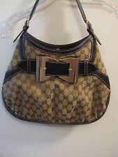 GUCCI Queen Medium Hobo Handbag GG Brown Monogram Canvas/Leather Preowned