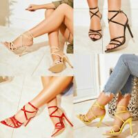 Womens Nude Barely There Strappy High Heel Sexy Stiletto Sandals Party Prom Size