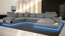 Großes Sofa Wohnlandschaft Ledersofa mit USB Design Sofa Couch Polster Ecksofa