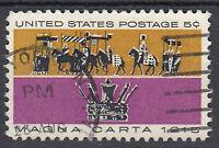 USA Briefmarke gestempelt 5c Magna Carta U S Postage Rundstempel / 2394