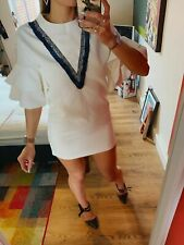Sevy Zara T Shirt Dress 60s Tunic White Vintage Shift Smock Ruffle Top Jumper