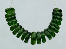 Natural Dark Green Chrome Diopside Faceted Rondelle Gemstone Beads