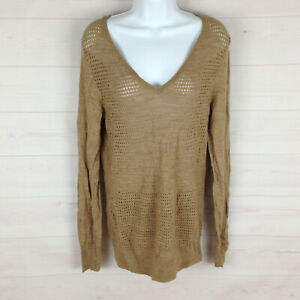 The Limited womens size L brown merino wool blend eyelet long sleeve sweater