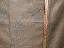Fabric Woven Brocade Satin Like Cotton Blend Silver Gray Floral On Gold Tone