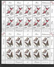 MONACO 2001 Butterflies , the two complete sheets of 10 MINT NH