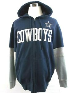 NFL Dallas Cowboys Men's Size Large Navy Blue And Silver Zip Up Hoodie Jacket