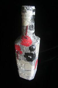 Ukrainian Decoupage Glass Bottle Handmade Exclusive Product