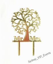 Mr & Mrs Gold Wedding Cake Topper Acrylic Tree of Life Engagement Party Supplies