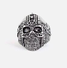 Mens Biker Motorcycle New Stainless Steel Cyborg Spike Skull Ring Sizes 10-13
