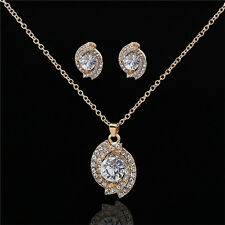Fashion Necklace and Earrings Set Women Crystal Rhinestone Pendant Party Gifts