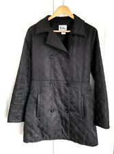 Lilly Pulitzer Black Quilted Pea Coat Jacket Double Breasted Size Medium M