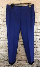 J Crew Size 6 Cafe Capri Royal Blue Colorblock Wool Skinny Pants