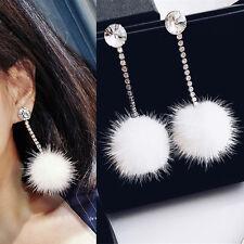 Elegant Women White Fluffy Plush Pompom Ball Dangle Ear Stud Rhinestone Earrings