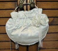 Braut Tasche Kommunion Hochzeit Satin Perlen Bestickung Elfenbein Ivory Brandneu