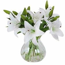Artificial Flowers Real Touch Latex Artificial Lillies Family Home Decor White