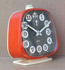 Réveil à clé JAPY forme télé ancien vintage ROUGE ORANGE old alarm clock