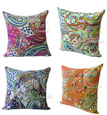 "4 Pcs. Indian Pillow Cushion Cover Bohemian Kantha Stitch 16"" Inches Urban Throw"