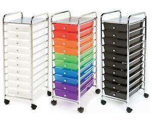 10 Drawer Rolling Scrapbook Paper Storage Organizer Cart Office School Tools