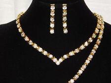 3PC Bridal Set Style Diamond Gold Rhinestones Necklace,Earrings & Bracelet /9601