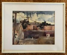 Watercolor of adobe buildings by New Mexico artist, Fran Ryan