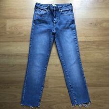 River Island Skinny Blue Freyed Hem Jeans Size 8