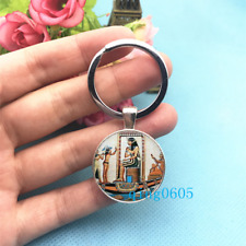Tile Egyptian Photo Tibet Silver Keychains Rings Glass Cabochon Key chain -172