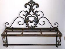 Antique french style bathroom towel rack rod  shelf  rail brown new
