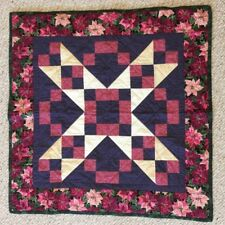Handmade Holiday Christmas Pink Red Poinsettia Quilt Wall Hang Throw Lap Blanket