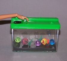 Ken or Barbie Doll Green Plastic Faux Aquarium with Fish Furniture for Diorama