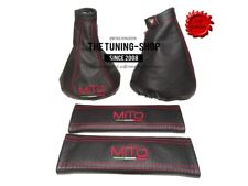 For Alfa Romeo MiTo Gear Ebrake Gaiter & 2x Seat Belt Covers Leather Embroidery